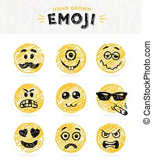 Hand drawn set of Emoticons.