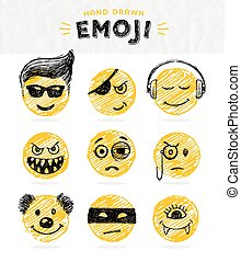 Hand drawn set of Emoticons. Vector set of Emoji. Smile...