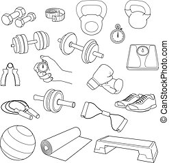 Hand drawn set of fitness accessories. Dumbbells, exercise ball, jump rope, stopwatch, the stopwatch hand, expander, yoga mat, step platform, sneakers, boxing gloves, scales, tape measure.
