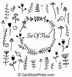 Hand Drawn Set Of Flora.