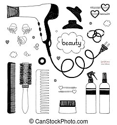 Hand drawn set of hair styling. Hair dryer, hairbrushes, sprays and scrunchy. Salon beauty care. Black sketch on white background. Vector items