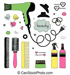 Hand drawn set of hair styling. Hair dryer, hairbrushes, sprays and scrunchy. Salon beauty care. Black line colored sketch on white background. Doodle style vector items
