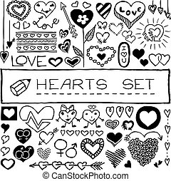 Hand drawn set of hearts and arrows