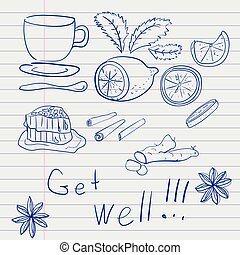 Hand-drawn set of items, medicines, traditional medicine, treatment of the common cold, drawn in pen on a piece of a school notebook line.