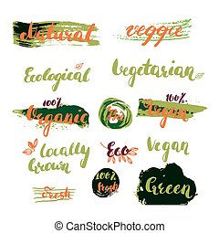 Hand drawn set of modern ink brush pen calligraphy for restaurant or product package design.