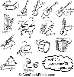 hand drawn set of musical instruments, doodles, vector