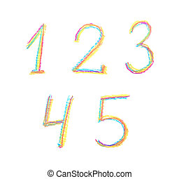 Hand drawn set of numbers isolated