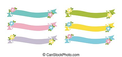 Hand drawn set of ribbons, banners with flowers