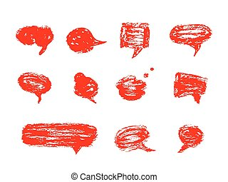Hand drawn set of speech bubbles.