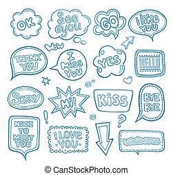 Hand drawn set of speech bubbles with dialog words.