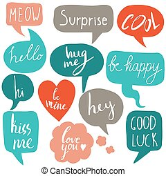Hand drawn set of speech bubbles with short messages