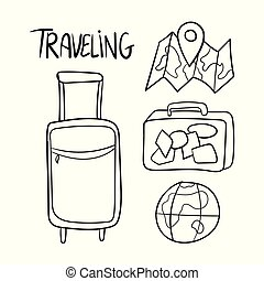 Hand drawn set of travel vector doodles