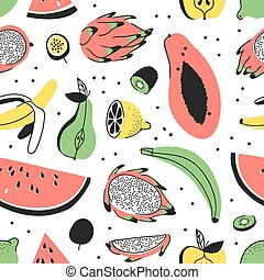 Hand drawn set of tropical fruits. Vector artistic seamless pattern with food. Summer illustration watermelon, banana, pear, apple, lemon and passion fruit