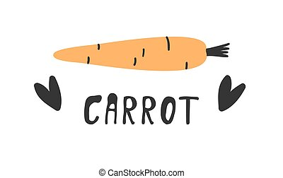 Hand drawn set of vegetable and text. Vector artistic drawing food. Summer illustration carrot