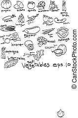 hand drawn set of vegetables, doodles