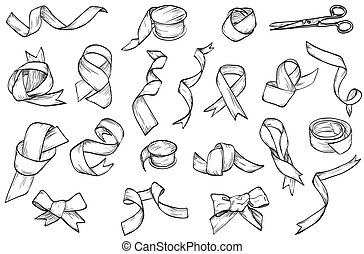Hand drawn set of vintage ribbon
