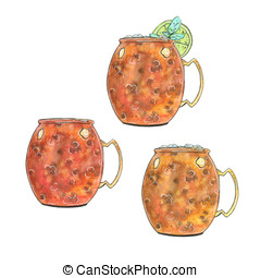 hand drawn set of watercolor cocktails Moscow mule Vodka buck on white background