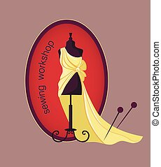 Hand drawn sewing lable with mannequin in a dress. Vector...