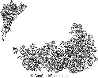 Hand-drawn Shamrock Clover Doodles