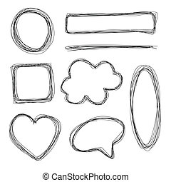 Hand Drawn Shapes - Hand drawn scribble pencil shapes