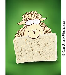 hand drawn sheep with cheese - sheep with cheese on green...