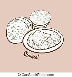 Hand-drawn Shirmal bread illustration. Flatbread, usually ...