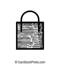 Hand Drawn Shopping bag icon vector illustration isolated on white background
