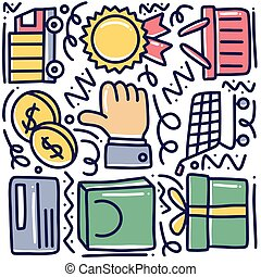 hand drawn shopping doodle set with icons and design elements