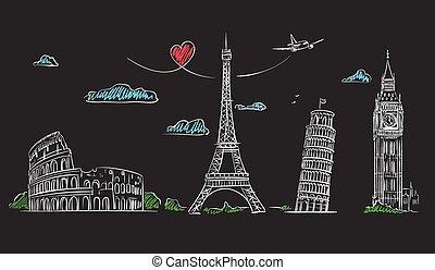 Hand drawn sights of Europe on blackboard.