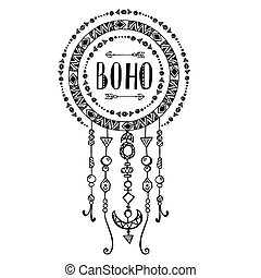 Hand drawn sign in boho style. Vector illustration.