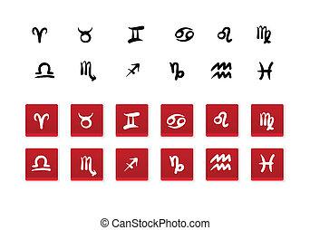 hand-drawn, signes zodiaque, et, boutons