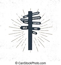 Hand drawn signpost icon with sunbursts. Retro signpost...