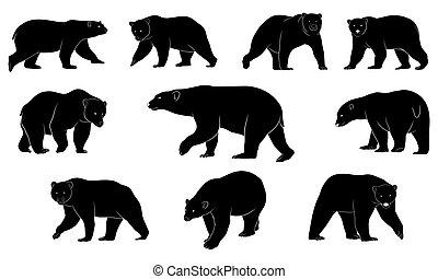 hand drawn silhouette of bear