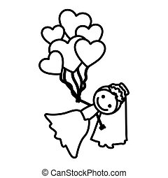 hand drawn silhouette with bride and balloons of hearts