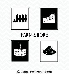 Hand drawn silhouettes. Farm market posters