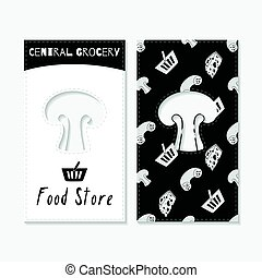 Hand drawn silhouettes. Food store business cards