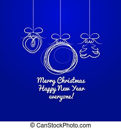 Hand drawn silhouettes of Christmas balls on a blue background. Sample of the poster, party invitation and other cards. Vector illustration.