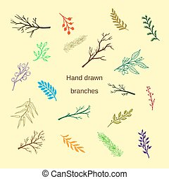 Hand drawn silhouettes of tree branches