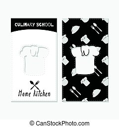 Hand drawn silhouettes. Restaurant business cards - Set of...