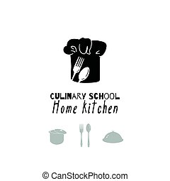 Hand drawn silhouettes. Restaurant logo template for craft...