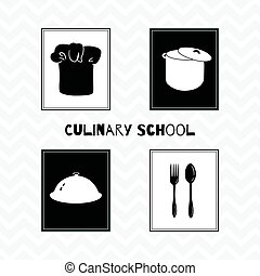 Hand drawn silhouettes. Restaurant posters - Set of hand...