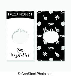 Hand drawn silhouettes. Vegetables business cards