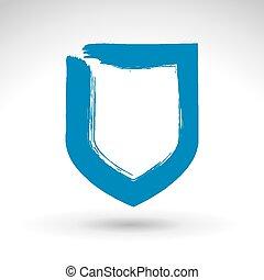 Hand drawn simple shield icon, brus