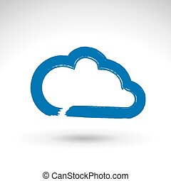 Hand drawn simple vector cloud icon