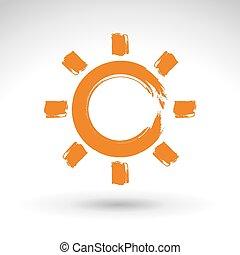 Hand drawn simple vector sun icon,