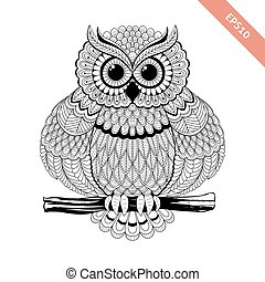 Hand drawn sitting ornate doodle owl. Design for coloring page, tattoo, poster, flyer.