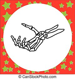 hand drawn skeleton hand holding invisible card vector...