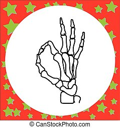 hand drawn skeleton hand with OK sign vector illustration...