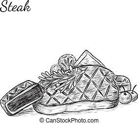 Hand drawn sketch a steak.