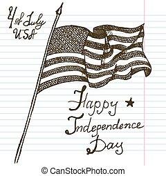 Hand drawn sketch American flag USA